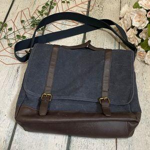 Crossbody bag Denim book laptop carrier plaid academia school blue leather brown
